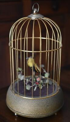 Charming Antique German Single Singing Bird N Gilded Cage With Flowers Music Box