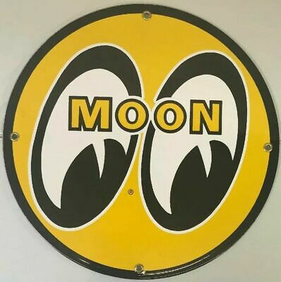 Vintage Moon Racing Porcelain Gas Station Pump Sign