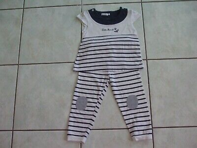 Ensemble Little Marcel 2 Ans Pantalon Leggins Et Tee Shirt Raye Blanc  Bleu Tbe
