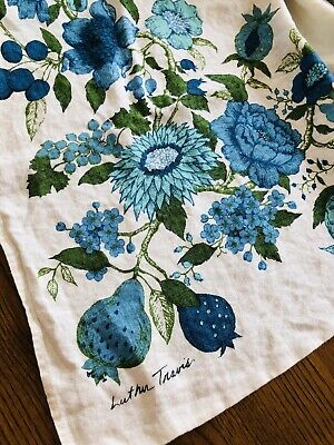 Vintage Printed Tablecloth - Luther Travis Blue Flowers And Fruit