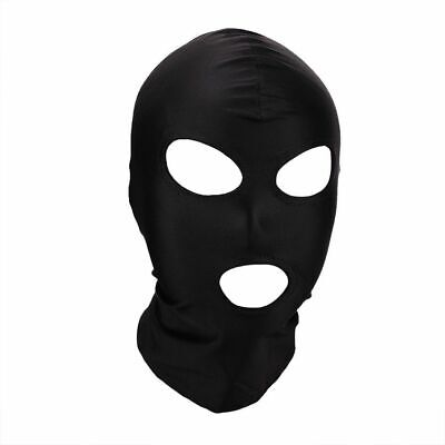 UK Black Spandex Stretchy Gimp Mask 3 Hole Face Hood Secret Santa, Halloween