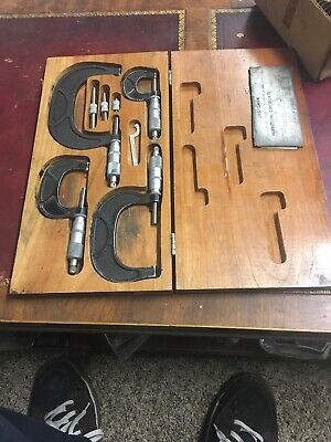 VTG Craftsman 4 Piece Micrometer Set w/ Wood Case Wrench Inspection Certificate