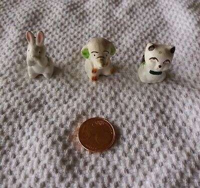 Lot 3 Animaux Elephant Chat Lapin Decoration Petite Taille Miniatures