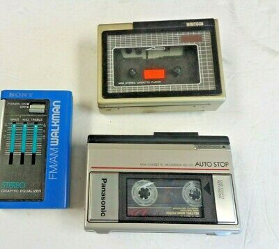 Walkman Radio With Panasonic And Uniteck Cassette Recorders Used Condition