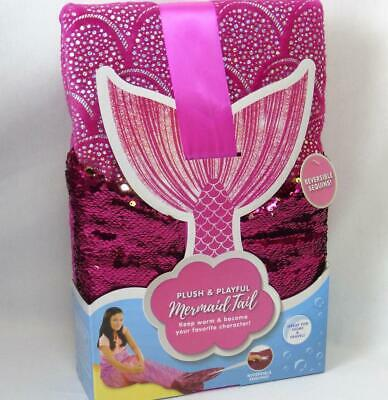 """Mermaid Tail Plush & Playful Pink Polyester Reversible Sequins Silver 22.5""""x55"""""""
