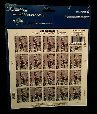 AMERICA RESPONDS 9/11 9-11 HEROES of 2001 Firefighters Sheet 20 MNH Stamps