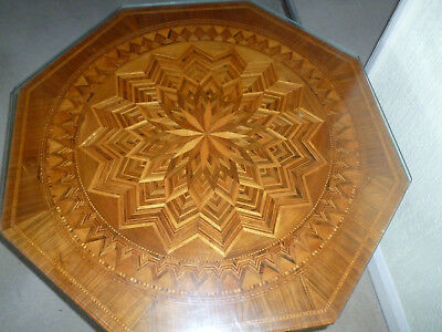 Italian Antique Marquetry coffee table from Sorrento,Octagonal,Pedestal 3 leg,