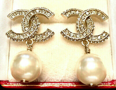 Authentic Chanel Classic Silver CC Logo Pearl & Crystal Earrings Pierced, NEW