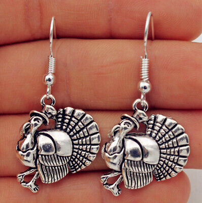 925 Silver Plated Hook -1.7'' Cool Turkey Rooster Hat Retro Silver Earrings #05