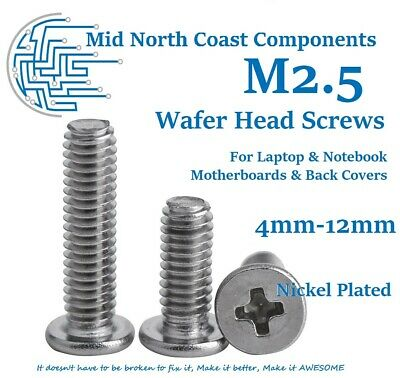 M2.5 Wafer Head 4-12mm Laptop Notebook Cover Screws Phillips Ni Plated Steel