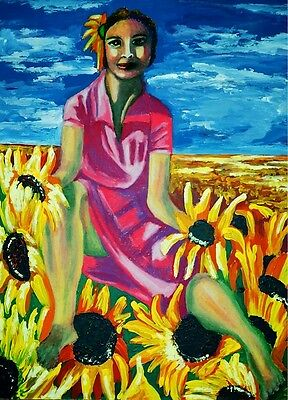 """perfect 24x36 oil painting handpainted on canvas""""a girl and flowers """"@7520"""