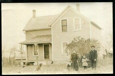RPPC FAMILY & DOG in YARD of CLAPBOARD HOME ANTIQUE REAL PHOTO POSTCARD c 1910