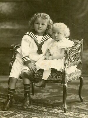 ANTIQUE CABINET PHOTO BEAUTIFUL CHILDREN ID'd SAILOR SUIT SETTEE GERMANY