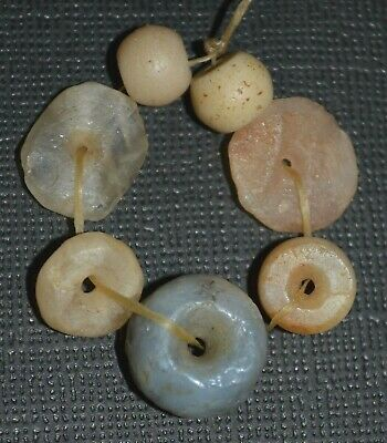 Ancient Excavated Quartz, Agate Stone & Two Glass Trade Beads Mali African Trade