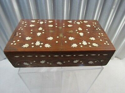 ANTIQUE Highly Detailed Vintage Mahogany Hinged Lid Brass MOP Inlaid Wooden Box