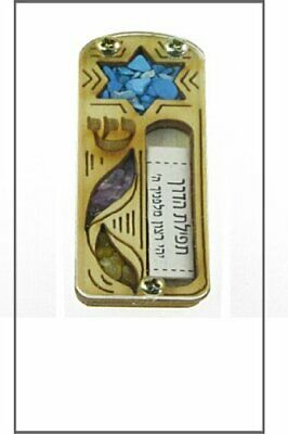3 layers Wooden Mezuzah Star of David Mezuzah with Israel Gemstones 10cm or / 4 inches