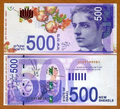 Israel, 500 New Shekels, Private Issue, Artist's Essay, 2019, Emma Lazarus