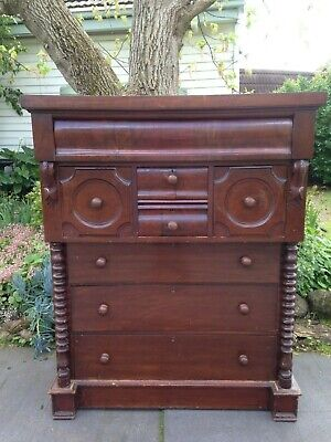 Antique Victorian Mahogany Chest of 8 Drawers w cotton reel columns!