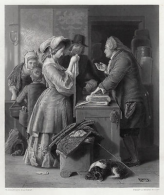 """WILLIAM MULREADY 1800s Engraving """"Choosing the Wedding Gown"""" Signed Framed COA"""