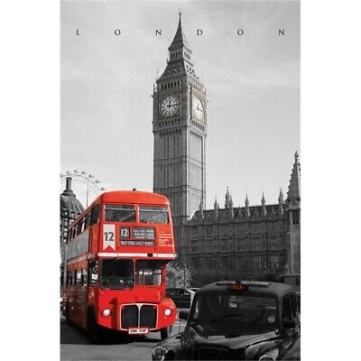 London (westminster) - New Bus Passes Big Ben Iconic Capital City Poster