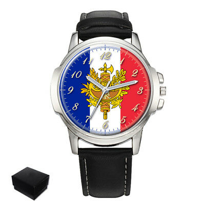 France Flag Coat Of Arms Gents Mens Wrist Watch  Gift Engraving