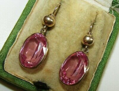 Rare, Antique Art Deco, 9 Ct Gold Earrings With 16.0 Ct Synthetic Pink Sapphires