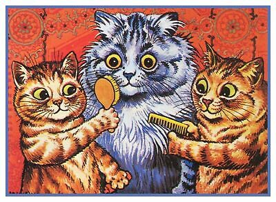 Louis Wain's Kitty Chats Sprucing dessus Point de Croix Tableau Motif