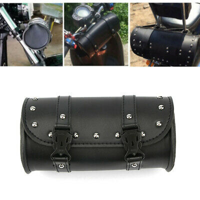 Motorcycle Tool Bag Handlebar Saddle Bag Sissy Bar PU Leather Storage Bag Black