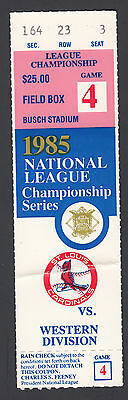 Vintage St Louis Cardinals vs Los Angeles Dodgers 1985 NLCS Game 4 Ticket Stub