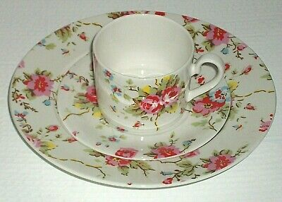 Cath Kidston China Breakfast Trio Cup Saucer & Plate Set in Red Roses