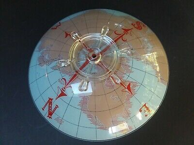 Vtg World Globe Map Ship Wheel Compass Ceiling Light Fixture Lamp Shade Mcm Old