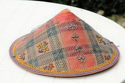 Antique Chinese Conical Hat with Beadwork Decoration