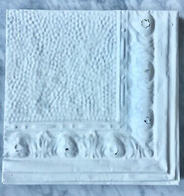 "Antique Metal Ceiling Tile, Wrapped Frame, Salvaged, Vintage, White, 11"" x 11"""