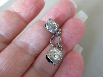 Antique Vintage Victorian Sterling Silver 2 Ringing Cow Bell Fob Charms Pendant