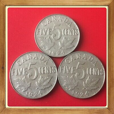 🇨🇦 Scarce Lot Of 3 1924 Canada five cents Canadian nickels Coins #1673 🇨🇦