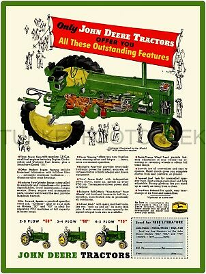 "JOHN DEERE MODEL 70 TRACTOR AD 9/"" x 12/"" ALUMINUM Sign"