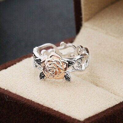 Charm Silver Floral Ring 14k Rose Gold Flower Wedding Party Jewelry Gift Hot