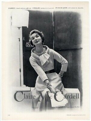 CLAIRE McCARDELL Fashion Ad Page 1953 Dress and Junk Jewelry