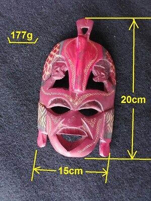 Vintage Ancient, hand-carved, wooden masks of African tribes