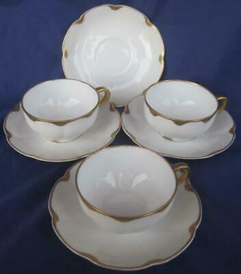 Theodore Haviland Limoges 3 Cups 4 Saucers White Gold Trim Panel France 1903-36