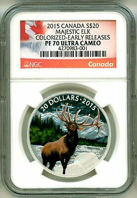 2015 Canada S$20 Majestic Elk Colorized Early Release NGC PF70 Ultra Cameo