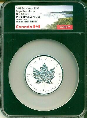 2018 Canada S$50 3 Oz. Silver Maple Leaf Incuse Design FR NGC PF70 Reverse Proof