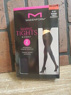 Maidenform 2 Pack Shaping Tights Medium Black Comfort Waistband Blackout