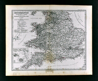 1880 Petermann Map England Wales Great Britain London Liverpool Oxford Lands End