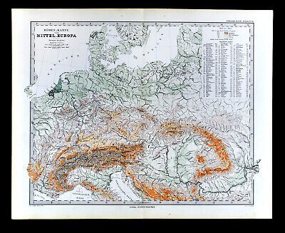 1880 Berghaus Map Physical Central Europe Germany Austria Switzerland Alps