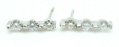 BEAUTIFUL Pair of Solid 14k White Gold / .30 CT TWT Diamonds Ladies Earrings
