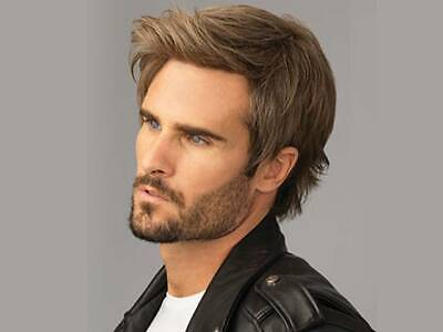 Natural Brown Men Male Daily Wear Hair Full Wig Short Synthetic Straight Wigs AU