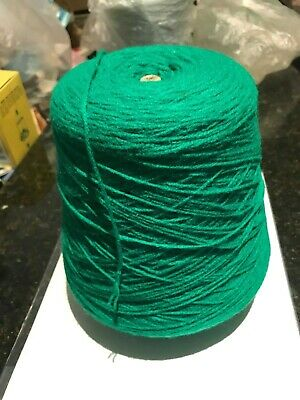 Komatex 3 ply Emerald Green Wool cone-510 grams-Lot 18253-Colour 08-Vintage New.
