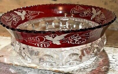 "EAPG Ruby Cranberry Flash Stain Grape Etch KINGS CROWN 9"" Master Serving Bowl"