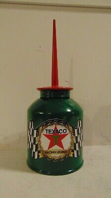 TEXACO Vintage Pump OIL CAN Gasoline Station Sign Gas Motor Checkered Race Flag